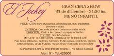 Leer más:Se viene la GRAN CENA SHOW del 31 de diciembre en Restaurant Parrilla El Jockey!